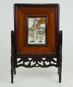 Antique Chinese Famille Rose Porcelain MAGU Plaque Wooden Table Screen 19th C
