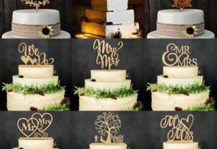 Vintage Wooden Mr Mrs Bride And Groom Wood Cake Topper Wedding