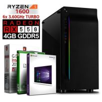 ULTRA GAMER PC AMD Ryzen 1600 8GB DDR4 128GB SSD RX 550 4GB Windows 10 Computer