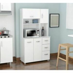 details about white kitchen storage microwave cabinet tall cupboard wood food pantry organizer