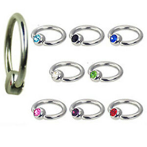 1,2mm Titan Ring mit Flatback Kristall Kugel Lippen Bändchen Tragus Ohr Piercing