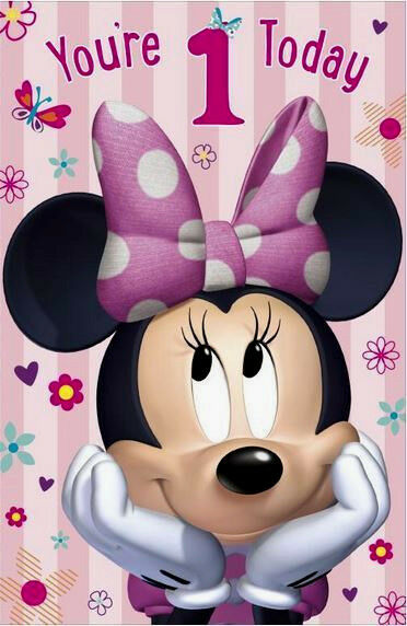 Minnie Mouse You Re 1 Today 1st Birthday Card Disney Gift For Sale Online Ebay