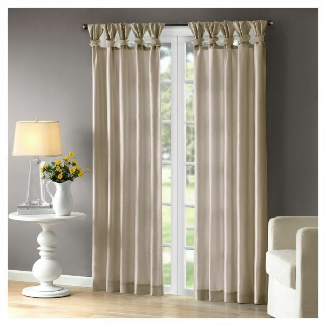 madison park emilia 50 x 108 lined faux silk twisted tab window panel champagne