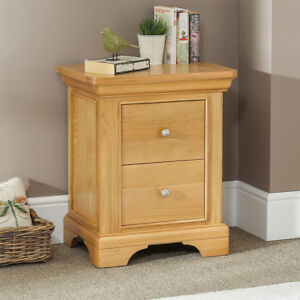 French Farmhouse Oak 2 Drawer Bedside Table Low Side Cabinet Lamp Drawers Cf01 Ebay