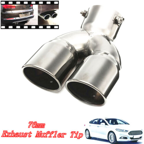 car truck exhausts exhaust parts universal car stainless twin double chrome exhaust pipe muffler tail tip 76mm 3 car truck exhaust pipes tips