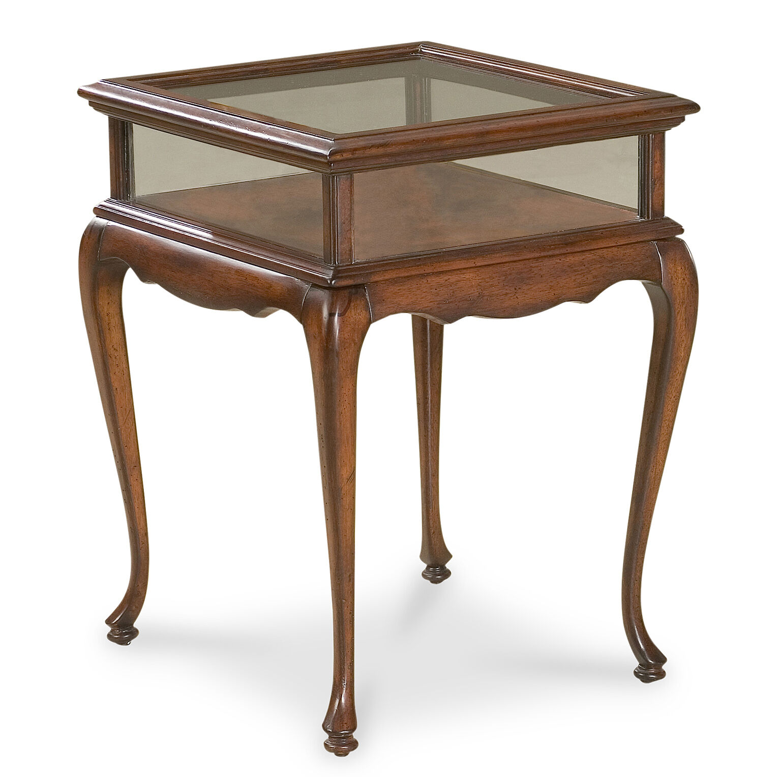 chelmsford curio table glass top display table cherry free shipping