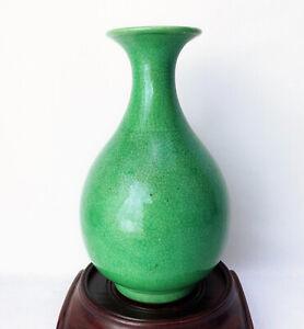 Kangxi Qianlong Chinese Antique Porcelain Green Glazed Vase 18th Century