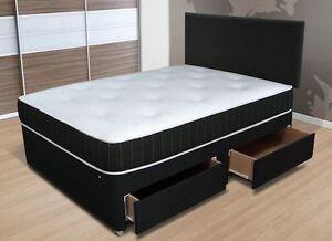 Image Is Loading Memory Foam Chenille Divan Bed Mattress Headboard 3ft