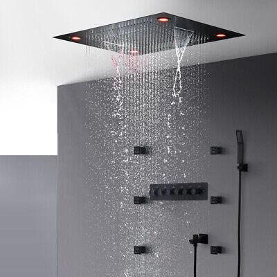 matte black shower waterfall lateral jet shower head thermostatic led shower set ebay