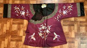 Elegant Antique / Vintage Chinese Silk Womans Damask Informal Butterfly Robe