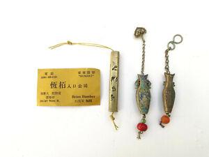 x3 Antique Chinese Sterling Silver Cap Charm Pendant Miniature Bottle - Lot 6