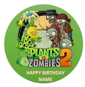 Plants Vs Zombie Edible Image Birthday Party Cake Topper 19cm Round Ebay