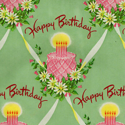 Vintage Happy Birthday Wrapping Paper Gift Wrap 20 X 30 Green W Pink Cake 1940 Ebay