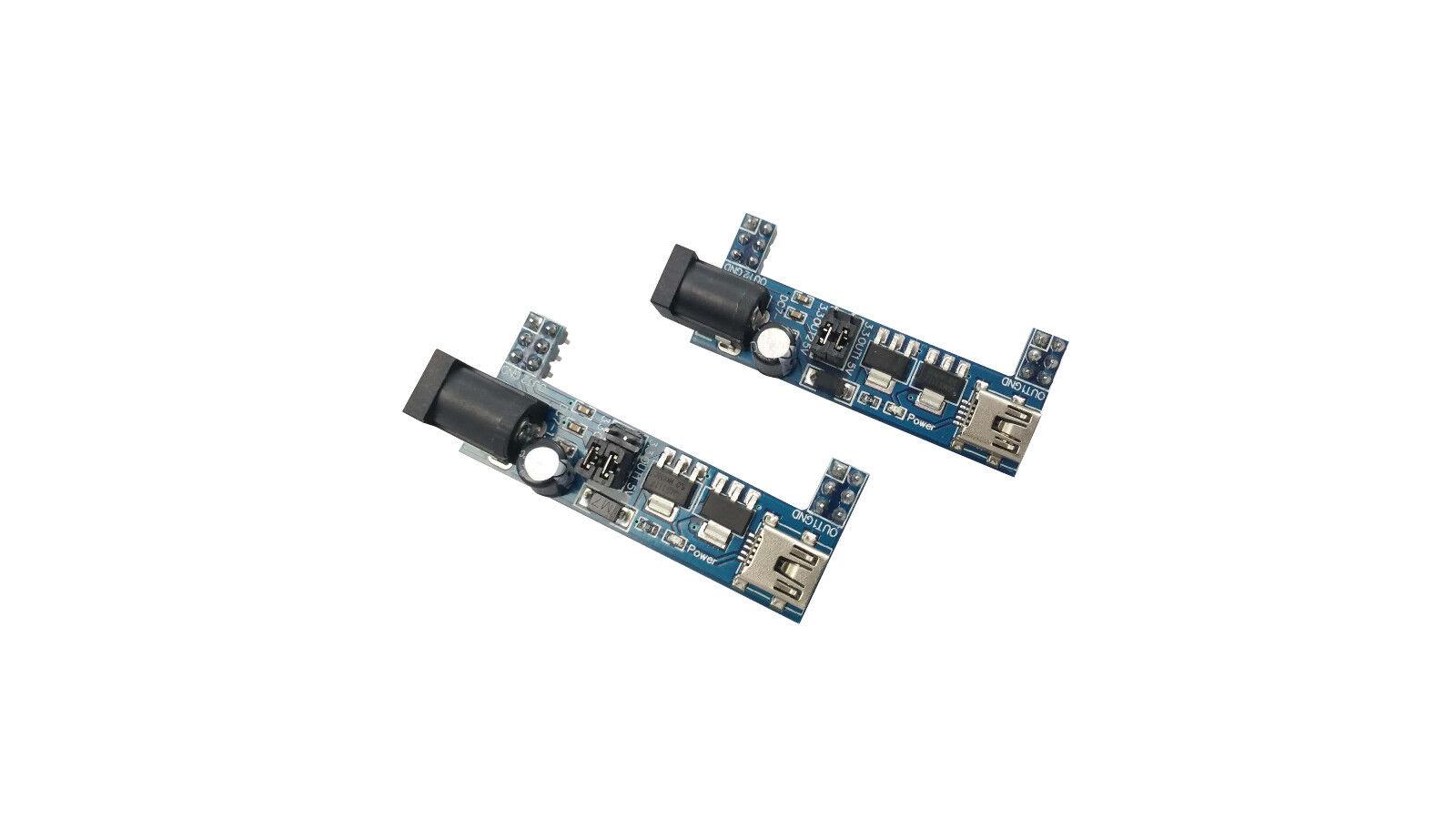 2pcs Breadboard Power Supply Adapter Module Usb 3 3v 5v