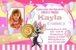 details about chuck e cheese custom printable birthday party invitation free thank you card