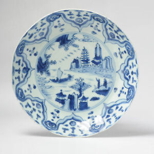 Antique Chinese Porcelain Dish Wanli period Ca 1600 China Landscape