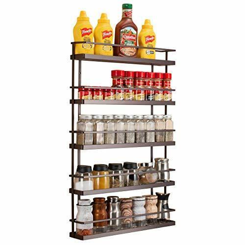 5 tier wall mount spice rack organizer pantry cabinet door shelf brown