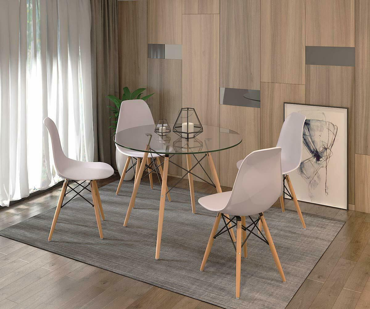 details sur ensemble table chaises scandinave ronde verre table et lot de 4 blanc chaise