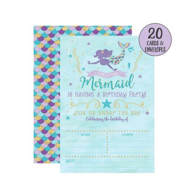 mermaid birthday invitations 20 fill in mermaid party invitations with envel