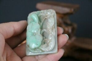 Genuine Jadeite Emerald Jade Pendant Netsuke Lotus, Ruyi & Fish AUSPICIOUS