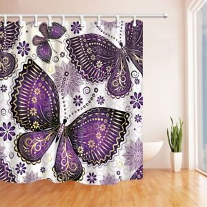 details about beautiful purple butterfly and flower waterproof fabric shower curtain hooks