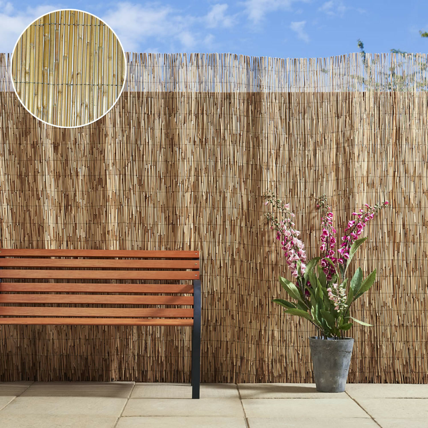 4m bamboo screening roll natural fence
