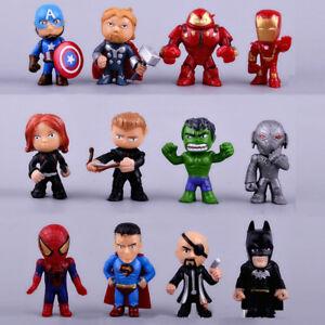 12 Mini Superhero Action Figures Cake Topper Avenger Men Spider Cool Hulk Man Ebay