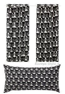 details zu new ikea mattram curtains 1 pair or pillow cushion black white cat