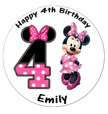 Minnie Mouse 4th Birthday Personalised Edible Wafer Paper Topper 7 5 Ebay