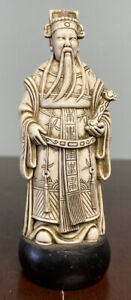 ANTIQUE CHINESE RESIN WHITE EMPEROR FIGURE (SEAL MARK) 11cm