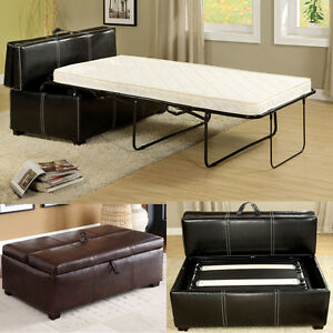 Image Is Loading Black Brown Leatherette Storage Ottoman Bench Twin Foldable