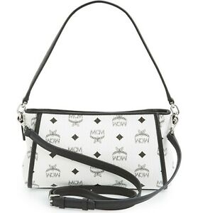 details about mcm heritage visetos small shoulder crossbody bag white black logo italy sealed