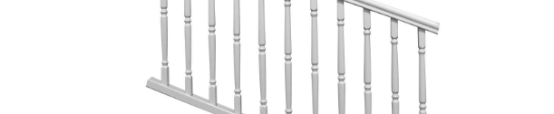 Veranda Traditional 6 Ft X 36 In White Vinyl Stair Rail Kit | Black And White Stair Railing | Wall | Wrought Iron | Handrail | Victorian | Contemporary