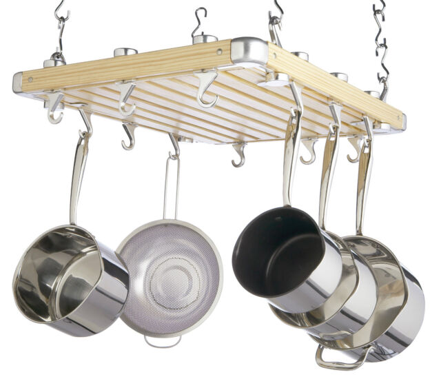 masterclass kitchen craft ceiling mounted pot rack wood brown 92 x 12 x 16 cm