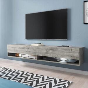 details sur meuble tv a suspendre et a poser wander 180 cm eclairage led design moderne