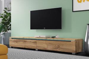 details sur swift meuble tv suspendu a poser 140 180 cm beige blanc laque chene wotan led