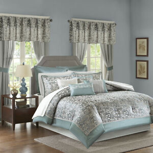 details about 23 pc elegant rich chic teal blue silver grey comforter set sheets curtains