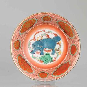 Edo Period Japanese Porcelain Shallow bowl Antique Kutani Gold Foo dog[:...