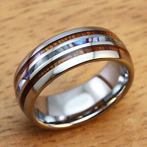 8mm Mens Wedding Bands Titanium Ring With Koa Ebony Gabon