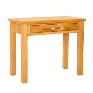 details about small oak laptop desk with drawer console table for hallway newlyn solid wood