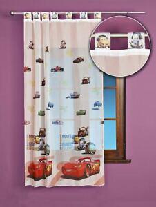 details sur rideau voilage cars chambre garcon largeur122cm a pattes neuf