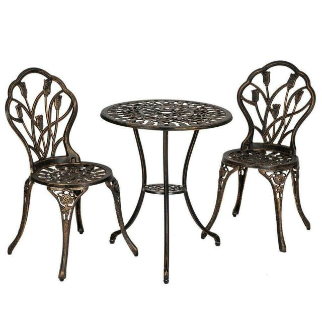 3pc patio bistro furniture set outdoor garden iron table chair bronze sturdy new