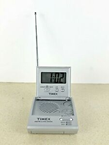 Flip Top Travel Alarm Clock Radio Am Fm
