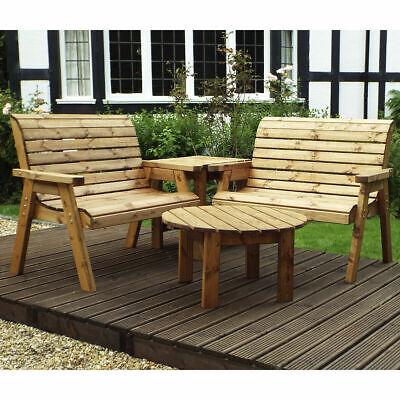 rustic garden wooden four seater corner unit patio furniture bench outdoor uk ebay