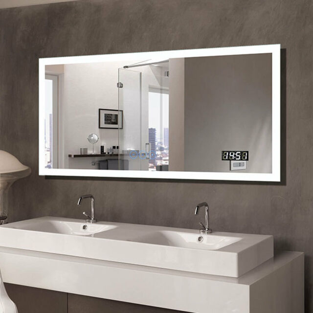 Horizontal Clock Led Lighted Bathroom Mirror With Bluetooth Touch Button Antifog
