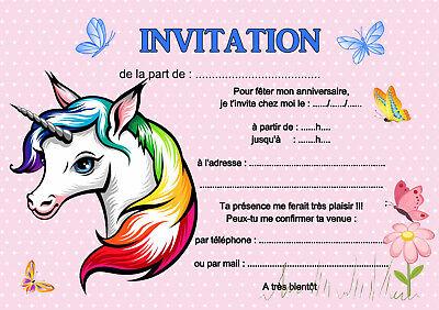 5 12 ou 14 ou 20 cartes invitation anniversaire licorne ref 462 ebay