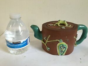 Antique Chinese Yixing Zisha Clay Teapot With Colorful Glaze Of 3 WINTER FRIENDS