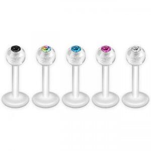 5 farbiges Set Bioflex Lippen Piercing mit Stein Labret schwarz weiß regenbogen