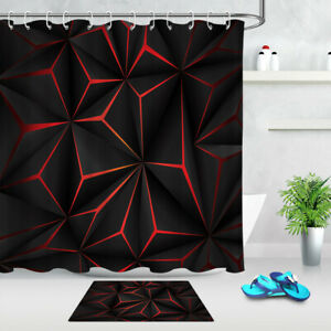details about abstract 3d black red pattern shower curtain set bathroom polyester fabric hooks
