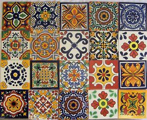 details about 40 mexican talavera tiles ceramic mix patterns 6x6 stairs backsplash